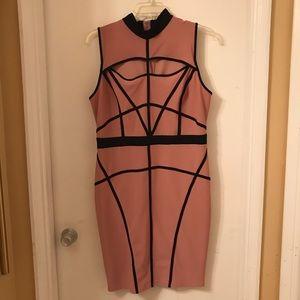 Blush colored cage bodycon dress